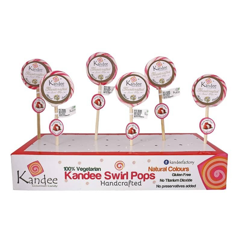Litchi Kandee Swirl Pop Natural Color - Pack of 6